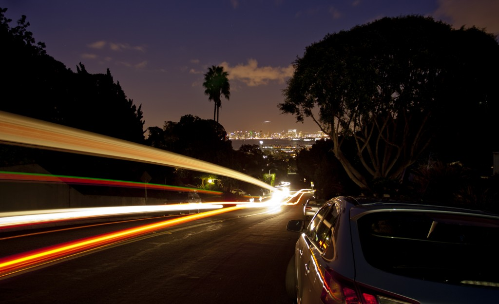 The movement of vehicles at night is fascinating.